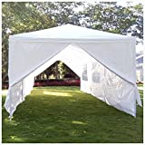 Z ZTDM Wedding Party Tent Heavy Duty 10x30 Outdoor White Canopy Screen Sun Shelters Houses Gazebos with 8 Removable Sides Sidewalls for BBQ Carport (10' x 30' with 6 sidewalls and 2 Doors White)