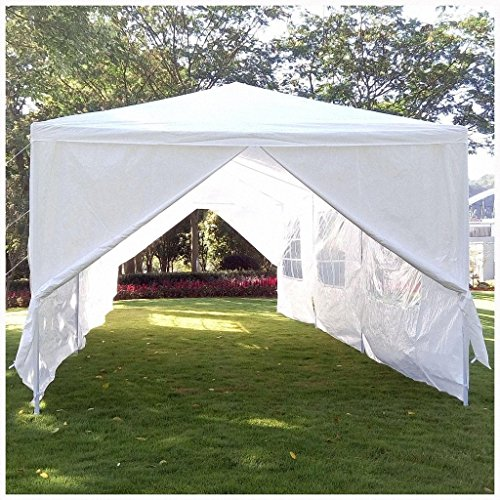 Z ZTDM Wedding Party Tent Heavy Duty 10x30 Outdoor White Canopy Screen Sun Shelters Houses Gazebos with 8 Removable Sides Sidewalls for BBQ Carport (10' x 30' with 6 sidewalls and 2 Doors White) by Z ZTDM