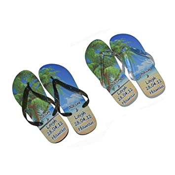 dd919f3d0a7f Bespoke Personalised His and Hers Honeymoon Beach Flip Flops Ladies One Size  UK 4-8