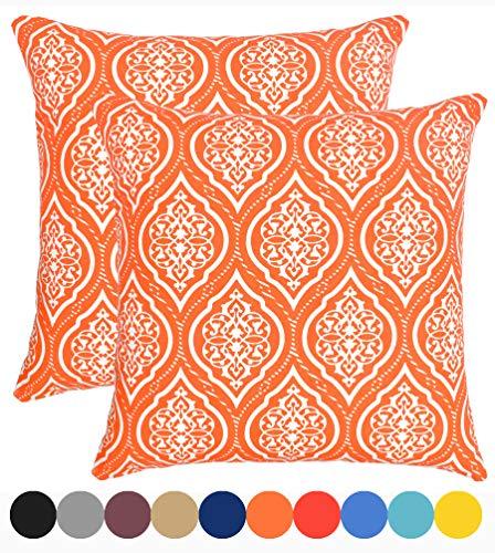 Urban Style Decor Decorative Throw Pillow Cover Cushion Cover Pillow Cases 18 x 18, Set of 2, Orange