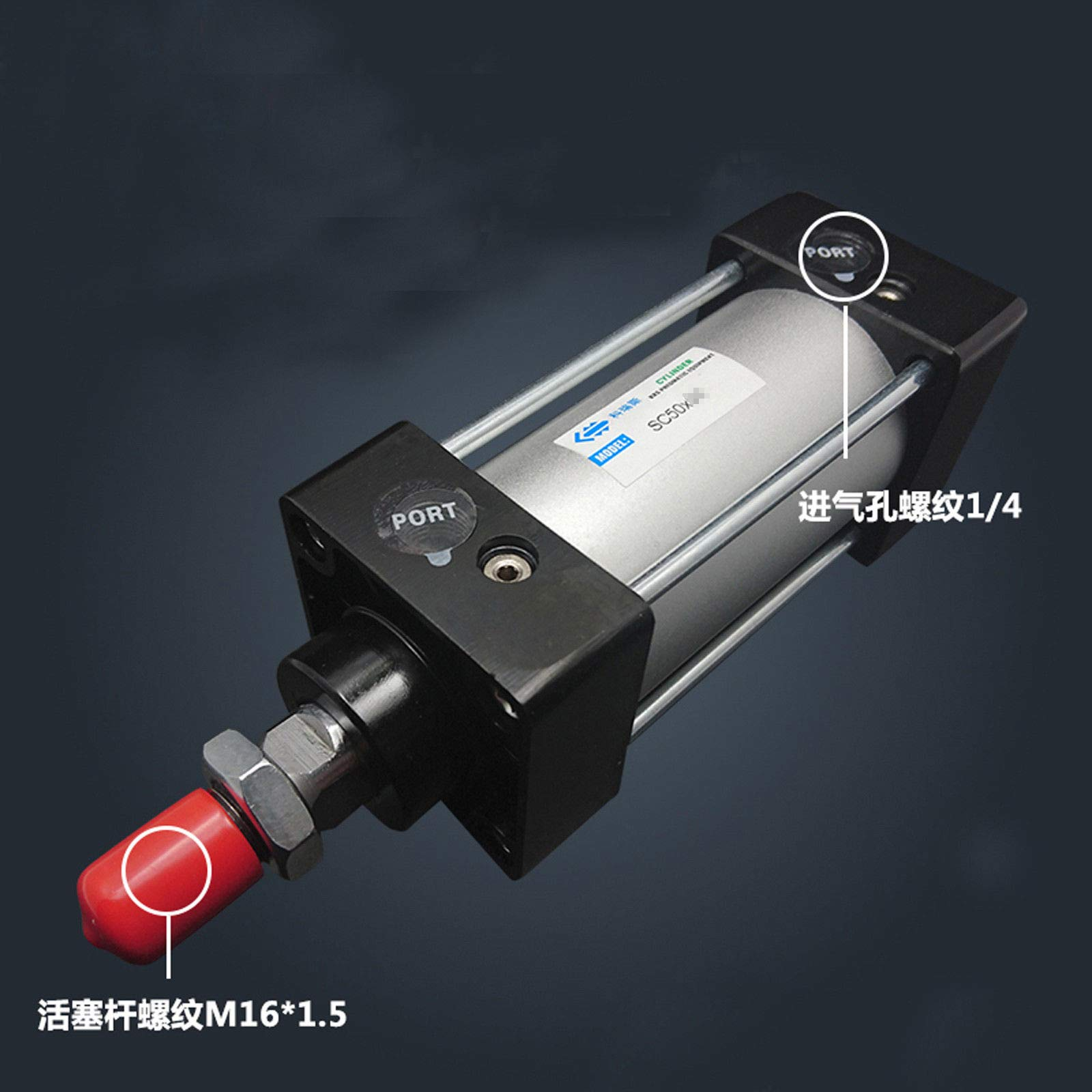 SC50-1000 Bore: 50mm Stroke: 1000mm Single Thread Rod Dual Action Air Cylinder