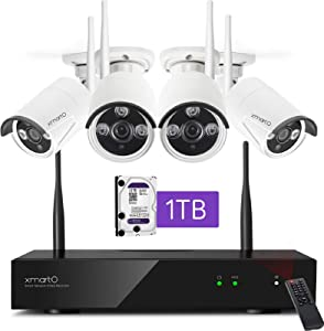 [2020 Dual WiFi 8-CAM 1080p] xmartO Home Security Camera System, Wireless Security Camera System with 4X 1080P WiFi IP Cameras for Home and Business Surveillance (Dual WiFi Routers in NVR, 1TB HDD)
