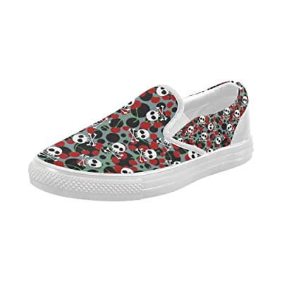 Shoes Cherry And Skull Slip-on Canvas Loafer For Women