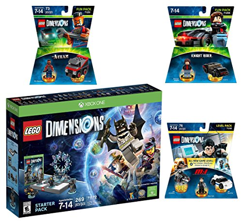 Lego Dimensions Demolition Starter Pack + Mission Impossible Level Pack + A-Team Fun Pack + Knight Rider Fun Pack for Xbox One or Xbox One S Console by WB Lego