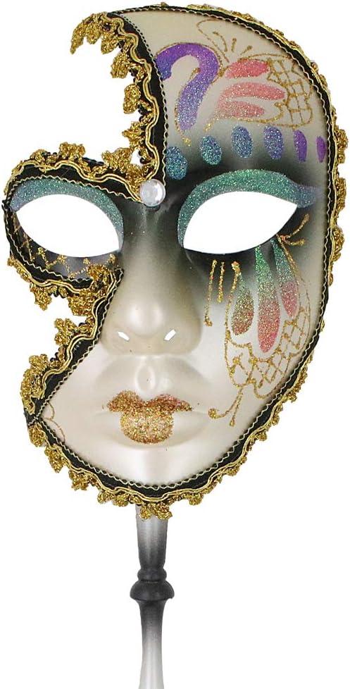 STUNNING BLACK Venetian Masquerade Ball Face Mask on A HAND HELD  STICK  MASK