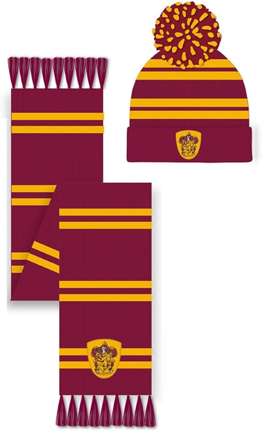 Einheitsgr/ö/ße Harry Potter Unisex Gryffindor Hat /& Scarf Winter-Zubeh/ör-Set rot
