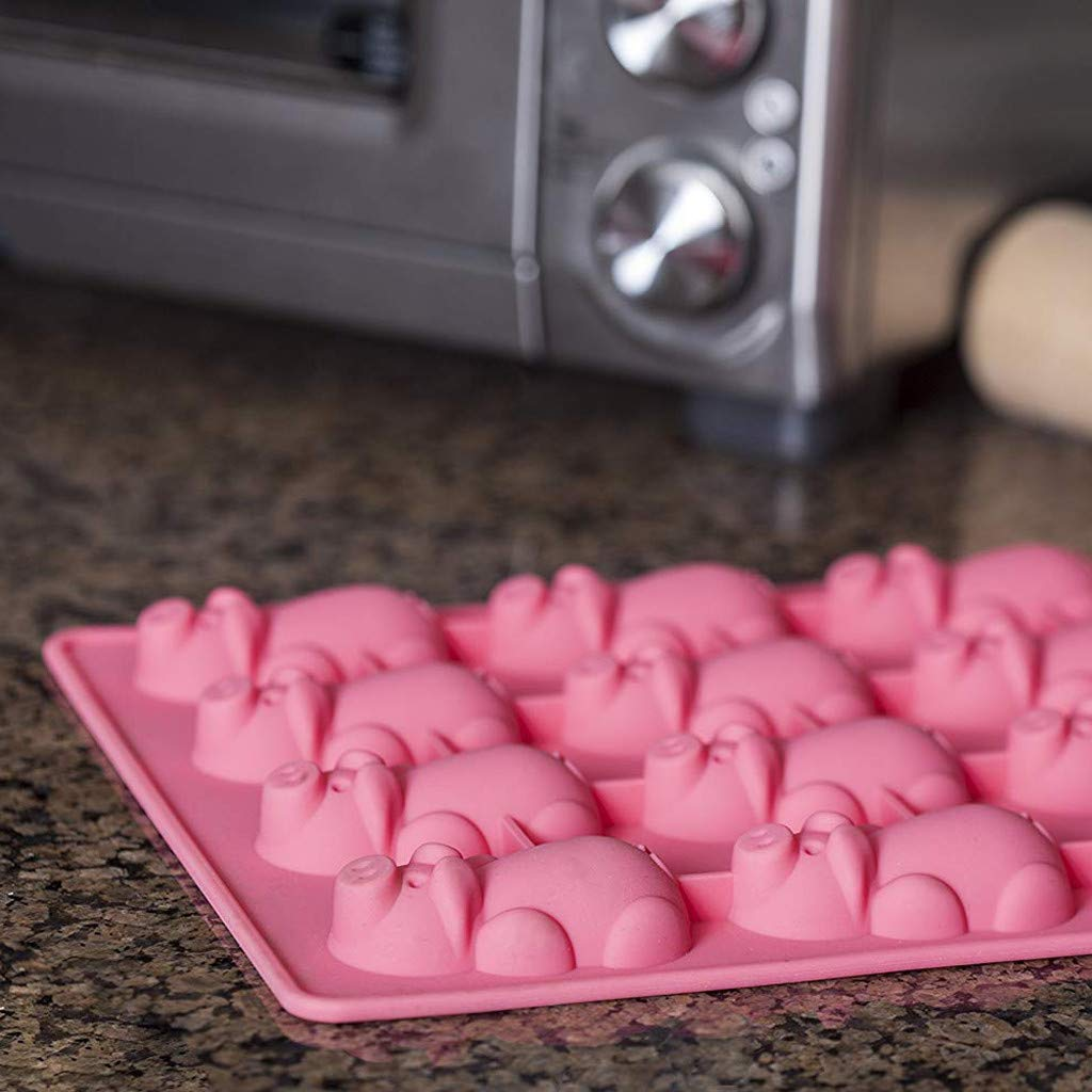 Amazon.com: Weite Multifunction 12 Little Pigs in a Blanket Silicone Baking Molds - Cute Pink Piggy Cake Mould for Chocolate, Candy, Soap Etc (1 PACK): ...