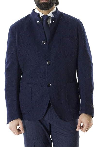 TOMBOLINI Giacca Invernale da Uomo Collo Coreano in Lana vestibilità Slim  Fit Tinta Unita Blu Notte 62061336ff6