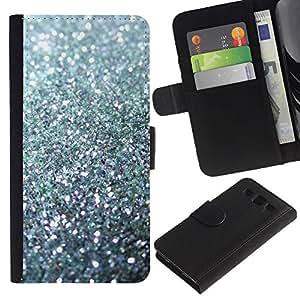 KingStore / Leather Etui en cuir / Samsung Galaxy S3 III I9300 / Sparkling Bling Platinum