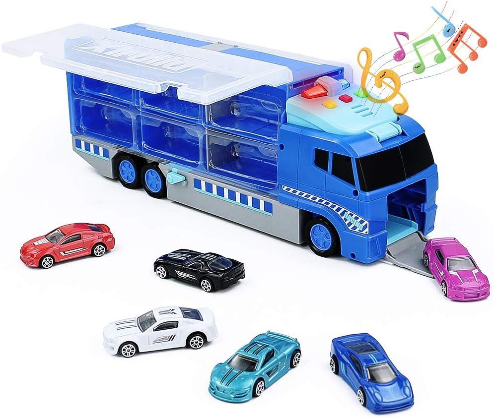 Symiu Coches de JuguetesCamion Cars Transportador Luz y Música Juegos de Vehículos con 6 Pcs Coches de Metal Regalos para Niños y Niñas 3 4 5 Años