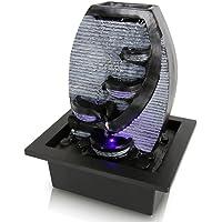 SereneLife SLTWF78LED - Fuente de agua eléctrica de sobremesa con 4 niveles, para interiores y exteriores, portátil, decorativa, diseño de cascada de meditación, incluye bomba sumergible y adaptador de alimentación de 12 V