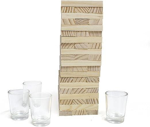 Balvi Juego de Mesa Timber! Juego de Mesa de Bloques de Madera con 4 chupitos de Cristal Madera/Cristal: Amazon.es: Hogar