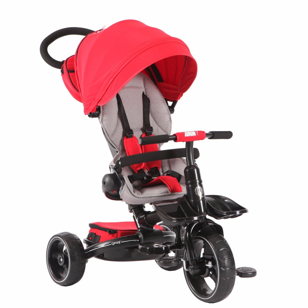T600 REDandGRAY 6-in-1 Deluxe Baby Stroller Tricycle Grow With Me Trike with One Button Rotating Seat Function for Interaction with Parents Push Bar Storage Bag Included (Trike,Stroller,Baby Tricycle