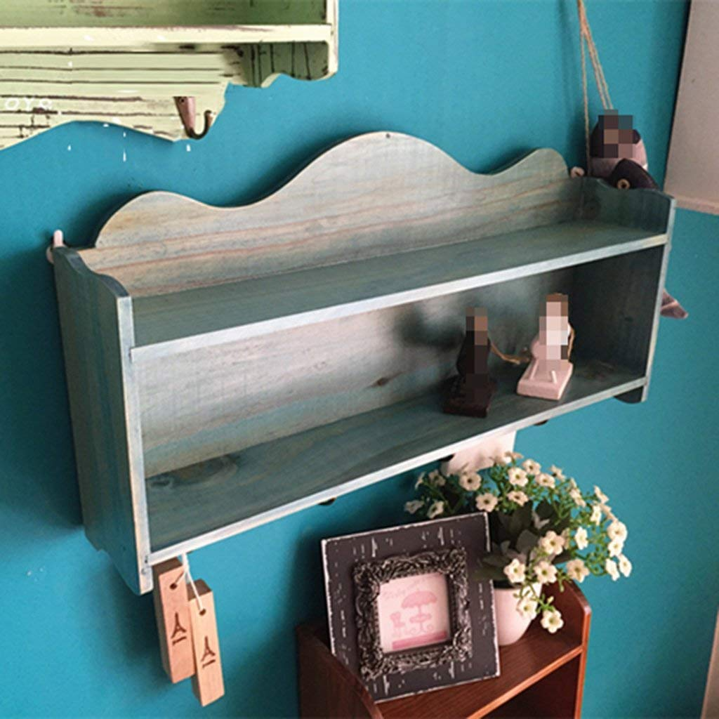 YCT 無垢材棚、ヴィンテージの壁棚木製収納整理壁掛け装飾服フックアップ無料パンチ (Color : C) B07SD35BH8 C