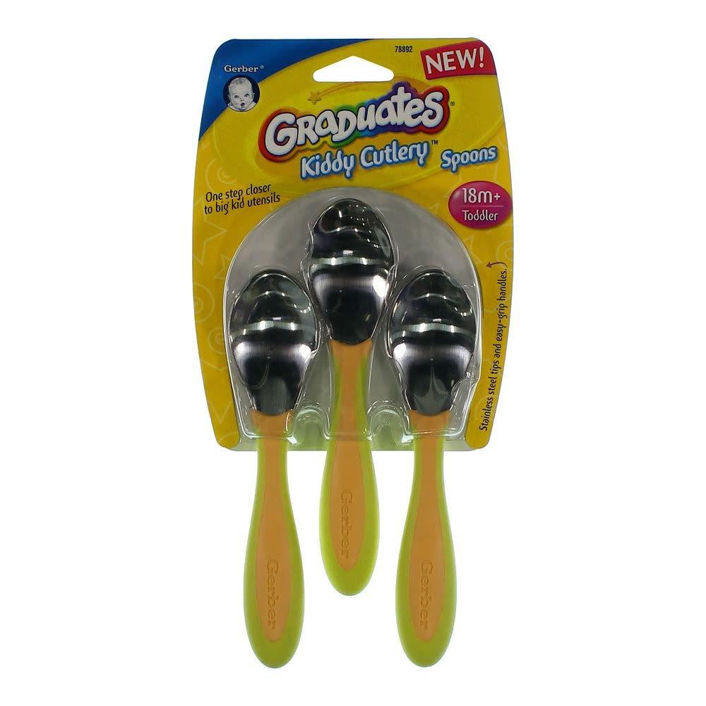 Gerber Graduates Kiddy Cutlery Spoons Stainless Steel Tip - 3 PK - Pink NUK USA 78892