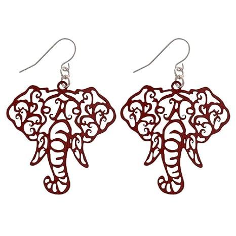 e6a9c4586 Amazon.com: Crimson Elephant Head Filigree Fishhook Earrings: Sports ...