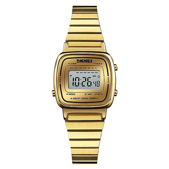 Modiwen - Reloj Deportivo Digital con Esfera Rectangular y Correa de Piel sintética para Mujer: Amazon.es: Relojes