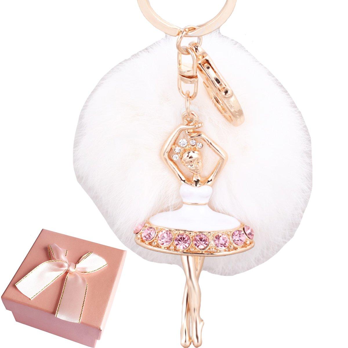 Elesa Miracle Girl Women Fur Ball Rhinestone Ballerina Keychain, Ballet Dancing Girl Handbag Accessories, Car Key Chain Rings (White)