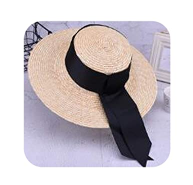 c1d7341a5 Summer Unisex Handmade Straw Flat Top Caps Women Large Wide Brim Sun Hat  with Bow Beach Caps, Brim 12cm at Amazon Women's Clothing store:
