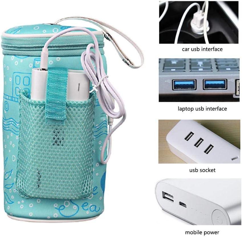 Sac Portable Chauffe-biberon Binwe B/éb/é Sac de Thermostat de Bouteille en Plein air Couvercle disolation doutil de Chauffage de Lait Intelligent Sac de Chauffage USB Portable de Voiture