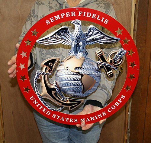 - USMC Globe Round Semper Fidelis Metal Sign w/Red Circle 19