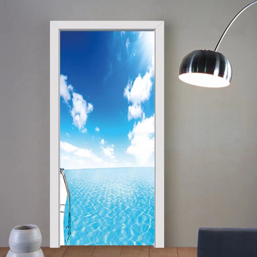 Gzhihine custom made 3d door stickers Summer Swimming Pool Crystal Color Water Cloudy Sky Luxury Relax Holiday Image Blue White Turquoise For Room Decor 30x79