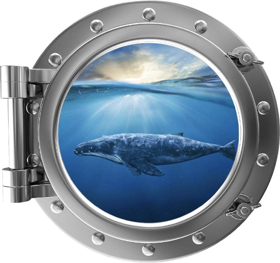 "18"" Port Scape Instant Sea 3D Window View Humpback Whale #2 Silver Porthole Wall Decal Ocean Portal Wall Sticker Removable Fabric Vinyl Graphic by StickitGraphix"