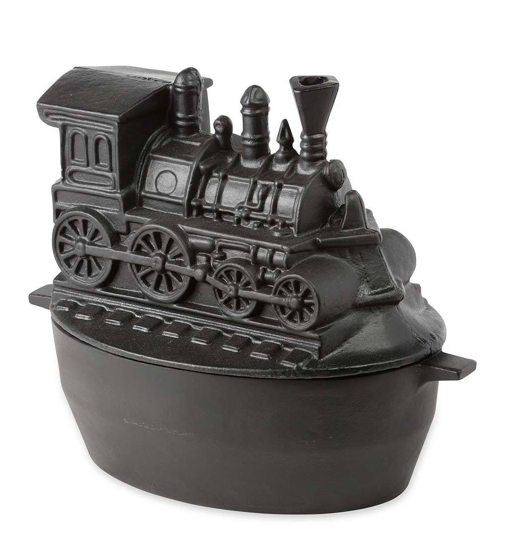 Train Wood Stove Steamer, Solid Cast Iron, Matte Black Enamel Finish, Rust Resistant, Decorative Functional Alternative to Electric Humidifiers, 3 QT Capacity, 12 L x 7 W x 9 H