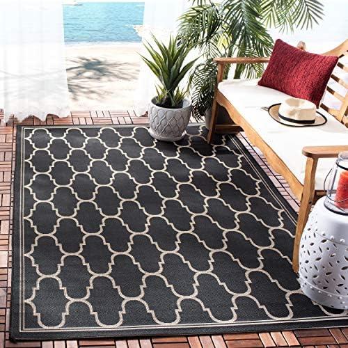 Safavieh Courtyard Collection CY6016-266 Black and Beige Indoor Outdoor Area Rug 9 x 12 6