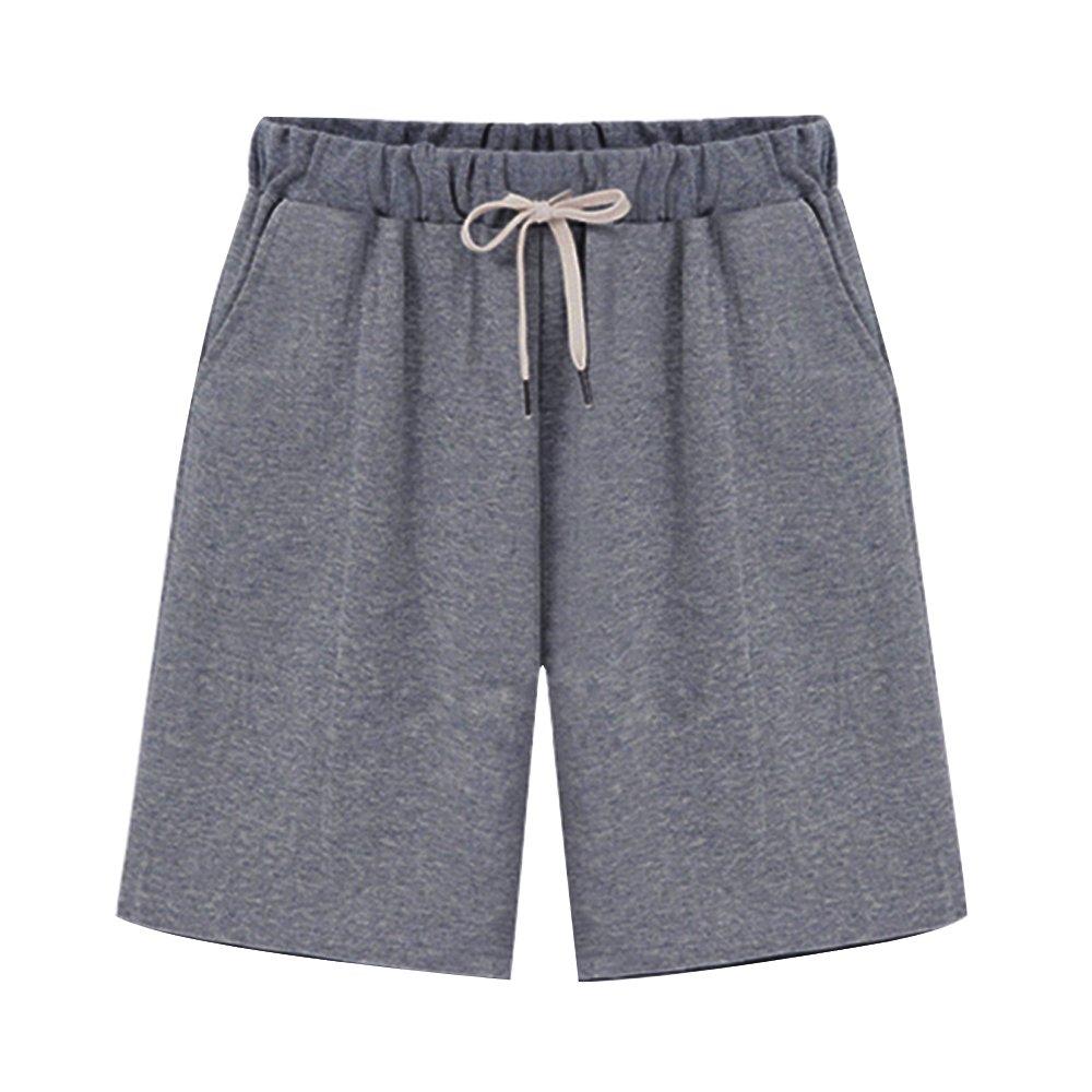 Women's Soft Knit Elastic Waist Jersey Bermuda Shorts Drawstring Dark Grey Tag 4XL-US 14