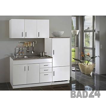 Single küche 180 torona inkl kochplatte spüle kühlschrank melamin weiß weiß