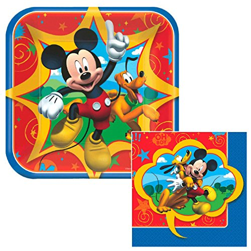 Mickey Mouse beverage and Dessert Napkins & Plates Party Kit for 8