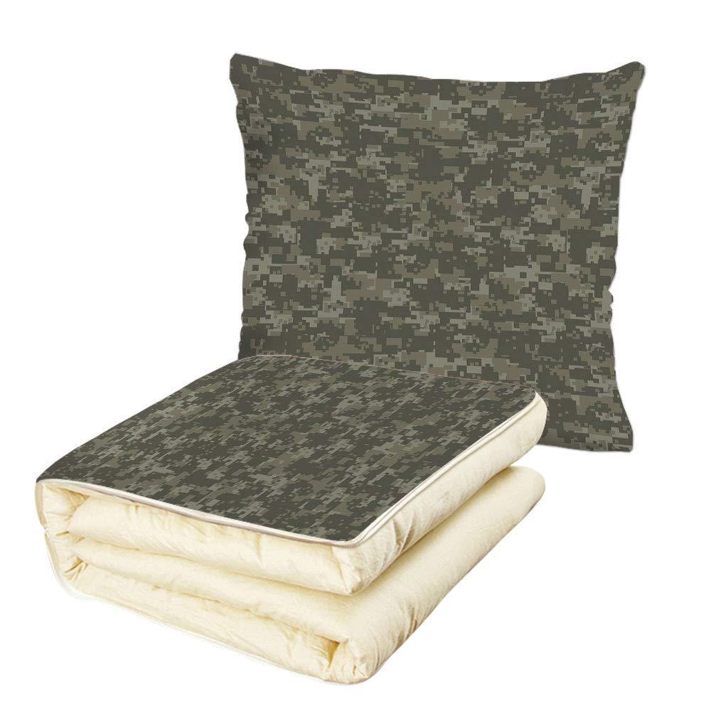 iPrint Quilt Dual-Use Pillow Camouflage Monochrome Military Attire Pattern Concealing Hiding in The Woods Forest Army Decorative Multifunctional Air-Conditioning Quilt Taupe Tan