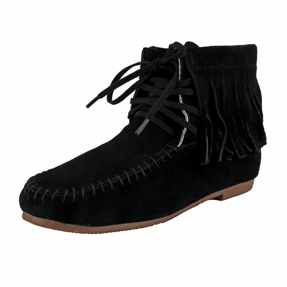 Meeshine Womens Suede Moccasin Boots Classic Fringe Ankle Boot Black US 9.5
