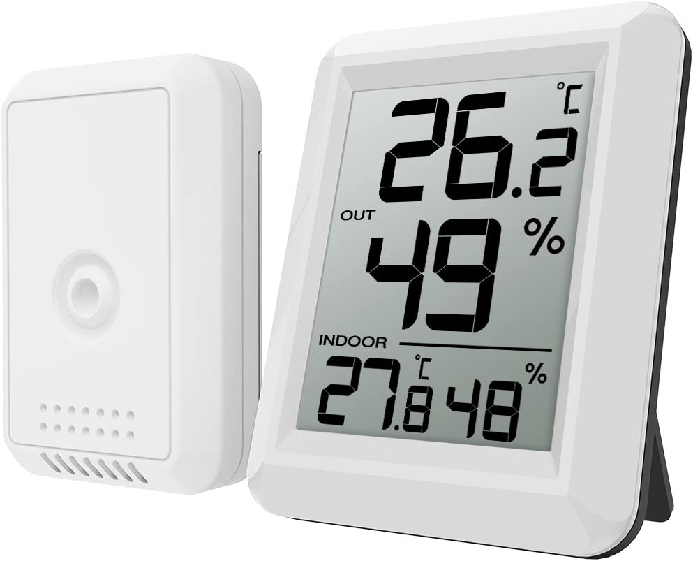 ORIA Digital Hygrometer Thermometer, Thermometer Humidity Monitor, Temperature Humidity Gauge Meter, LCD Screen, Indoor and Outdoor for Warehouse, Home, Office, Battery Not Included, White