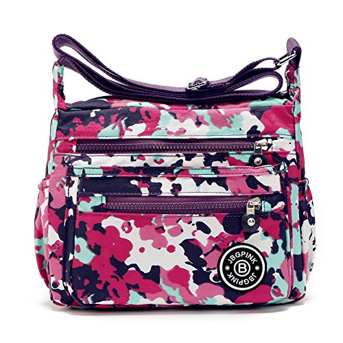 Extra Small Handbag (J-BgPink Lightweight Waterproof Nylon Handbag Crossbody Messenger Bag Shoulder Bag Famous Brands (Camouflage))