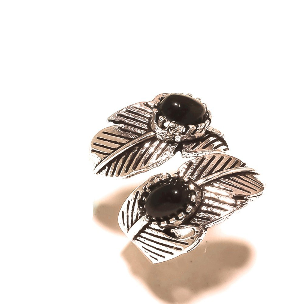 Black Onyx Handmade Jewellry 925 Sterling Silver Plated 8 Grams Ring Size 6 US Sizable Ancient Style