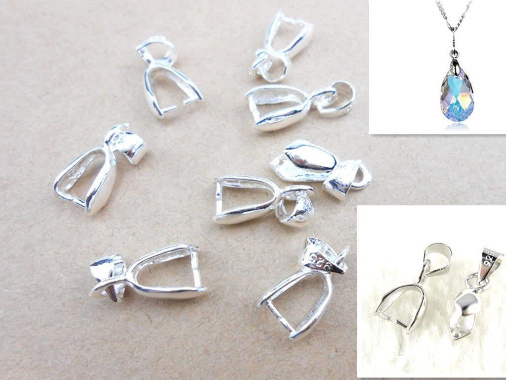 925 Sterling Silver Pinch Bail Connector Clasp Pendant DIY Jewelry Findings