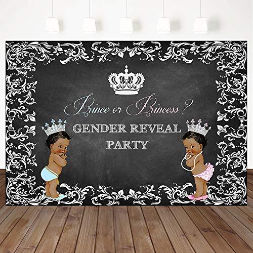 Mehofoto Gender Reveal Party Backdrop Blue Prince Or Pink Princess Baby Shower Background 7X5ft Vinyl Children's Party Gender Reveal Party Backdrop ()