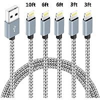 5-Pack Speate Nylon Braided Lightning Cables (2x 3ft, 2x 6ft, 10ft)