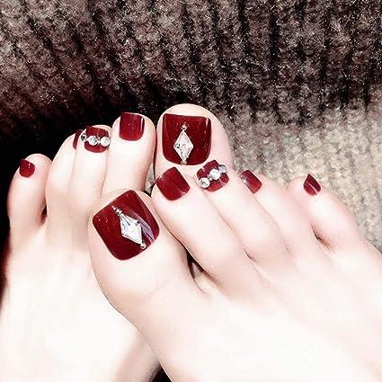 Fairvir - 24 uñas postizas para dedos de los pies, color ...