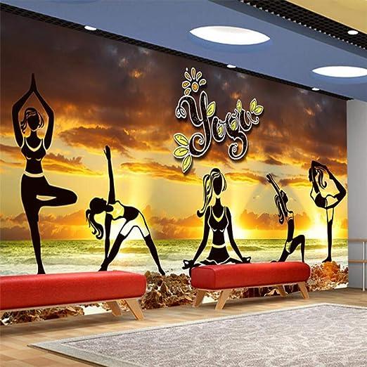 Mural Elegante Estética Yoga Cultura Wall Fitness Club Wall ...