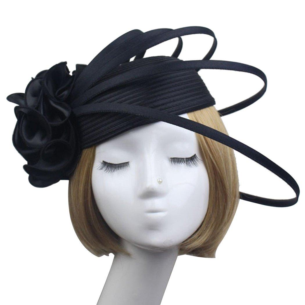 Krastal Womens Fascinator Satin Flower Pillbox Hat Vintage Elegant Hair Accessories