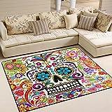 Naanle Paisley Skull Area Rug 5'x7', Floral Flower Skull Polyester Area Rug Mat for Living Dining Dorm Room Bedroom Home Decorative