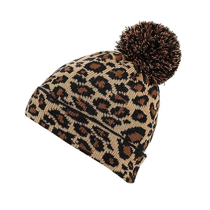 Moda dell Inverno Leopardo Crochet Cappello Berretto di Lana Beanie Palla di  Pelo Caldo Pac  Amazon.it  Abbigliamento 9a9b440dddcf