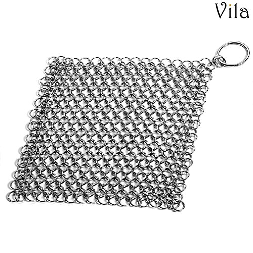 "Chainmail Scrubber - Premium Quality Stainless Steel, Dishwasher Safe, 7""x7"" - Cast Iron Cleaner - Easily & Effectively Restores Cookware without Soap or Harsh Chemicals - Great in kitchen & travel"