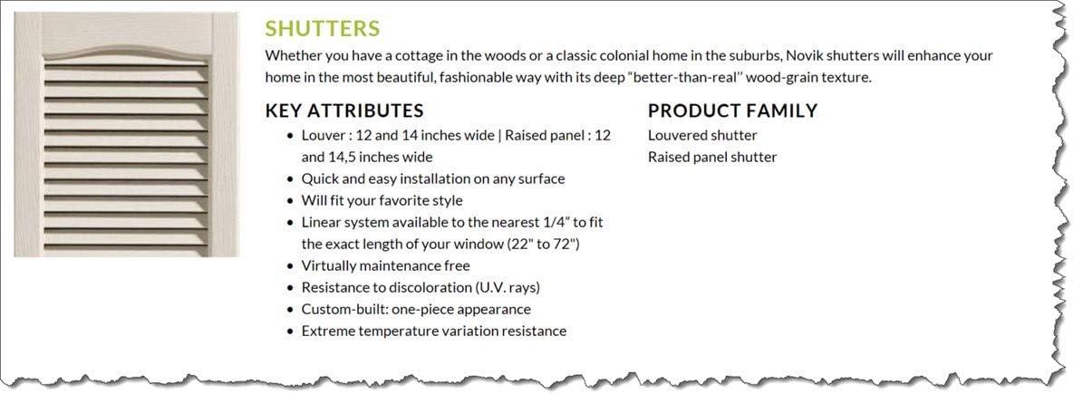 Standard Louvered Exterior Vinyl Window Shutters 14W x 22H Black, Shutters 1 Pair = 2pcs Louvered Shutters