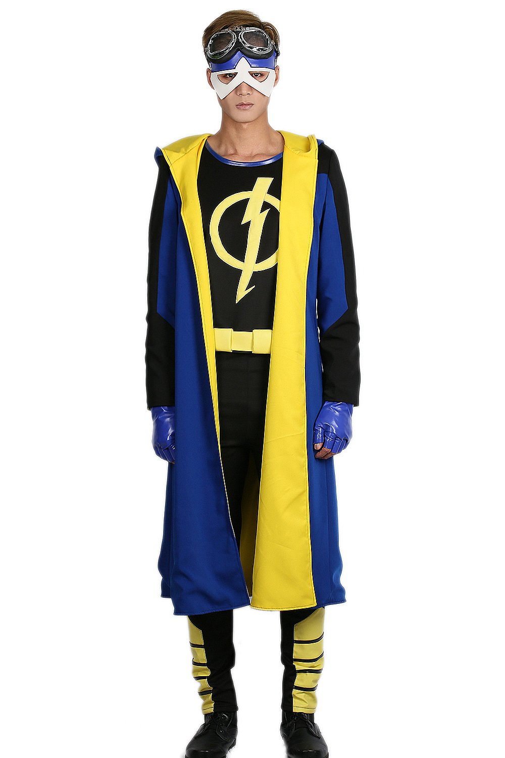 Static Shock Costume Deluxe Full Set Coat Shirt Belt Cosplay Outfits M