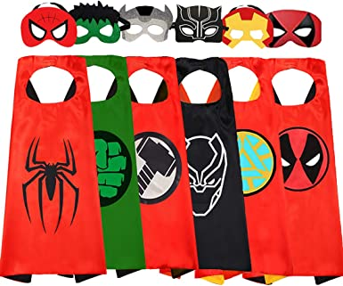 Fun Factorys Superhero Cape and Masks Superhero Black Panther Toy for 3-10 Year Old Boys Superhero Dress up Masks Kid Best Gifts