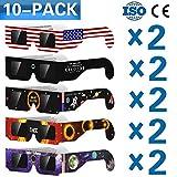Eclipse Solar anteojos para el Great American Eclipse 2017(10pares) CE y ISO Certified, Caja fuerte Visualización, visor y filtro solar, protección de los ojos
